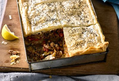 "Recipe: <a href=""http://kitchen.nine.com.au/2016/06/16/11/24/lamb-baklava"" target=""_top"">Lamb baklava</a>"