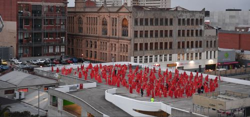 500 stripped naked for Spencer Tunick's photo shoot. Image: AAP