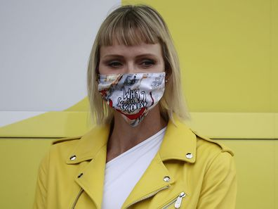 Princess Charlene of Monaco in her Joker face mask