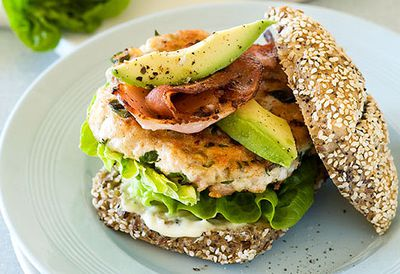 Chicken burger with avo and bacon