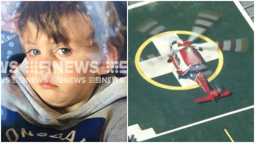 Rochester boy Kruze has been airlifted to the Royal Children's Hospital in a serious condition.