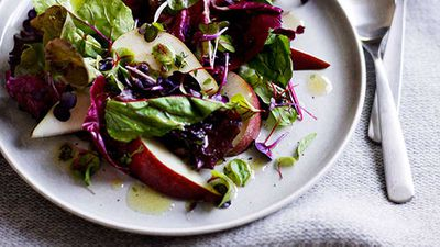 """Recipe: <a href=""""http://kitchen.nine.com.au/2016/05/05/15/22/pear-and-winter-greens-salad"""" target=""""_top"""">Pear and winter greens salad</a>"""