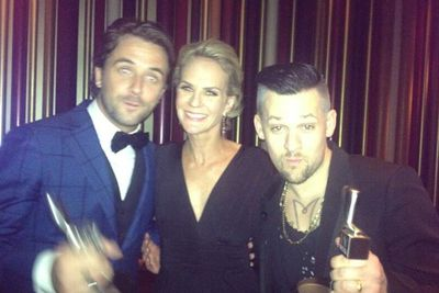 <i>The Voice Australia</i> host Darren McMullen with <i>Today Show</i>'s Christine Ahern and <i>Voice</i> coach Joel Madden, at the Nine after-party.<br/><br/>(Image: Christine Ahern/Twitter)