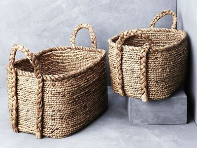 Waterhyacinth Oval Baskets with Plaited Handles