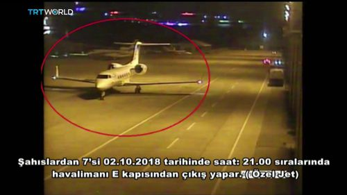 CCTV video shows a private jet alleged to have ferried in a group of Saudi men suspected of being involved in Saudi journalist Jamal Khashoggi's disappearance.