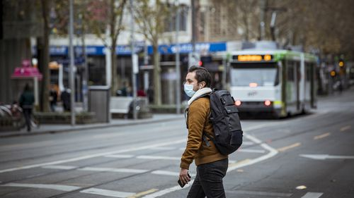 The public are seen wearing face-masks due to the Covid-19 pandemic in Melbourne CBD.