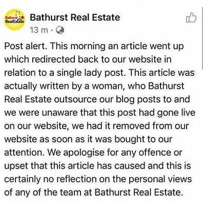 Real Estate agency responds to criticisms over sexist article targeted at single female buyers