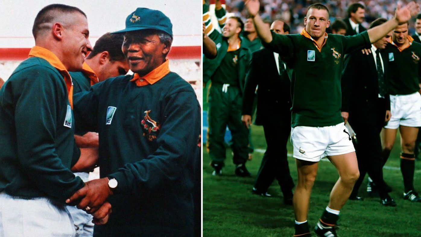 James Small celebrates winning the 1995 Rugby World Cup with the Springboks