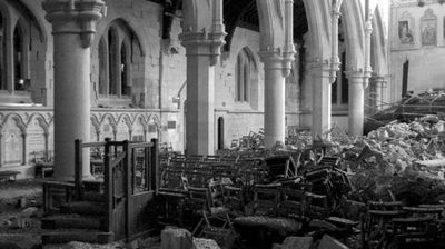 Photographs of the once-grand Christ Church Cathedral published on urban explorers website urbexcentral.com show the building littered with bird droppings, rubble and abandoned books.