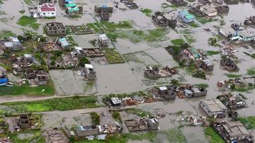 An aerial view of the destruction of homes after Tropical Cyclone Idai.