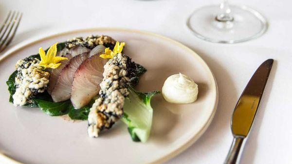 Matt Moran's Aria cured kingfish with bok choy and dashi dressing