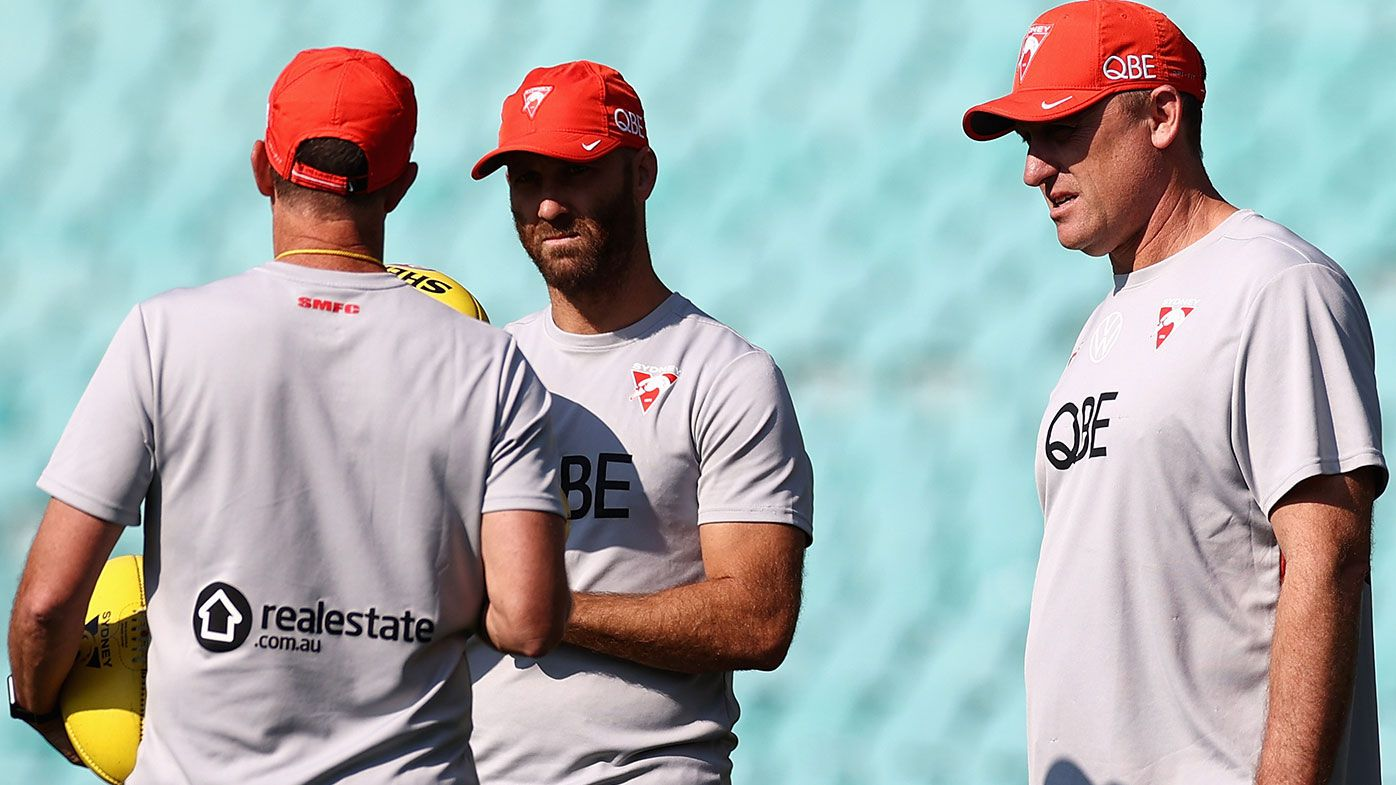 Swans head coach John Longmire talks during a Sydney Swans AFL training session at Lakeside Oval on April 29, 2021 in Sydney, Australia. (Photo by Cameron Spencer/Getty Images)