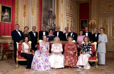 Crimson Drawing Room At Windsor Castle Queen Elizabeth II With The Reigning Sovereigns Of Europe And Their Consorts For A Unique Photograph To Mark Her Golden Jubilee on 17 June, 2002