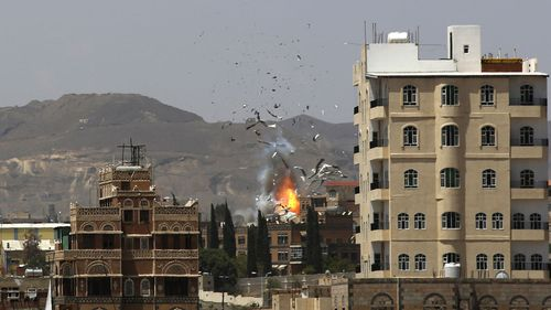 A Saudi airstrike in Yemen.