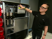 Alan Yu from LAVO showing off the LAVO battery system.