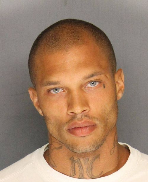 The mugshot that changed Jeremy Meeks' life around - and got him dubbed the 'hot felon'. Picture: Supplied