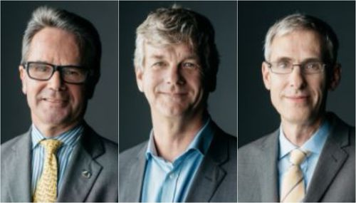 Chairman Rod Lyle (L), deputy chair David Waldren (M) and John Grover (R) all resigned after a special meeting to discuss the ongoing drama. (Supplied)