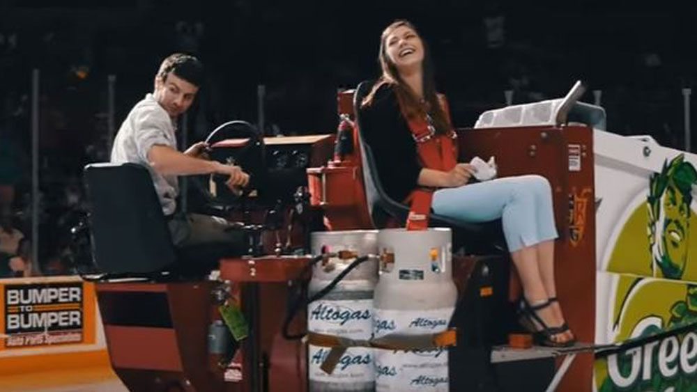 Zamboni-driver proposes to partner while working at ice hockey match