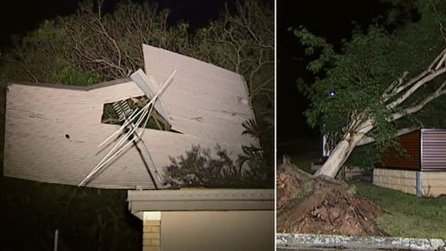 Severe storms snap trees and rip roof from home in south-east Queensland