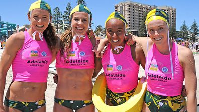 Jessica Collins, right, in her surf lifesaving days.