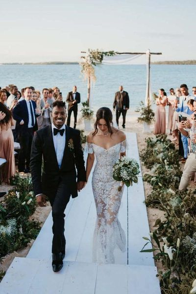 <p>Shanina Shaik and Gregory Andrews (DJ Ruckus), 2018</p> <p>The bride wore - Ralph &amp; Russo</p>
