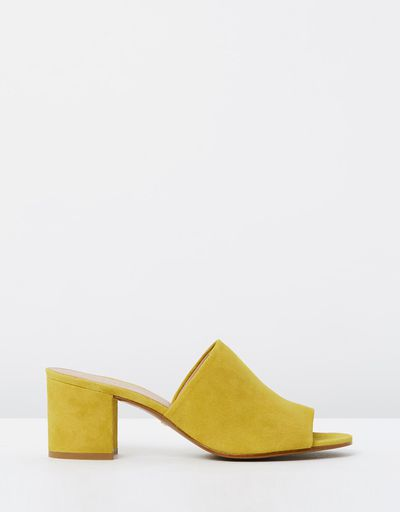 "<a href=""https://www.theiconic.com.au/amberley-mid-block-heel-mules-487604.html"" target=""_blank"" draggable=""false"">Whistles Amberley Mid Block Heel Mules in Yellow, $229</a><br>"