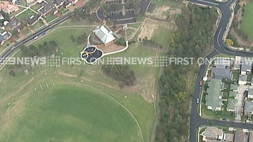 The school oval where two students fell ill after a nearby lightning strike. (9NEWS)