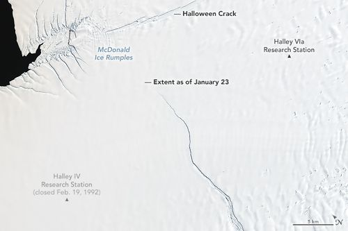 Scientists have warned a massive iceberg will soon calve — or break off — from Antarctica's Brunt Ice Shelf