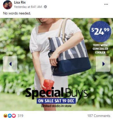 Aldi Special Buys wine dispenser tote bag