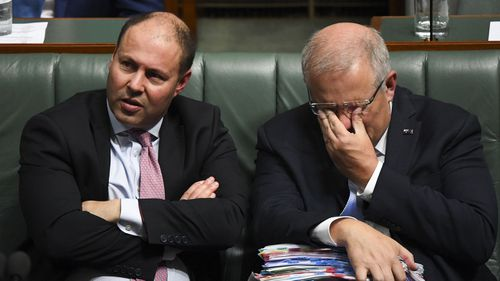 Josh Frydenberg and Scott Morrison in Parliament.