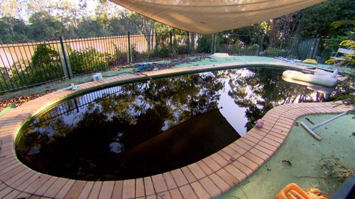 The pool water had turned black.