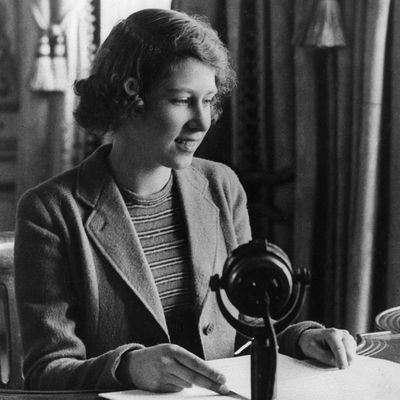 Princess Elizabeth make a broadcast during WWII