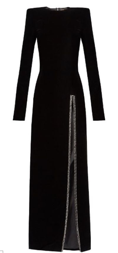 "<a href=""https://www.matchesfashion.com/au/products/Saint-Laurent-Crystal-embellished-slit-front-velvet-gown-1171928"" target=""_blank"">Saint Laurent Crystal-Embellished Slit Front Velvet Gown, $7306.</a>"