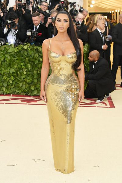 Reality TV star and beauty mogul Kim Kardashian West in Versace
