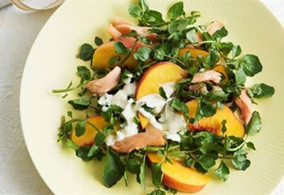 """<a href="""" /recipes/itrout/8347925/smoked-trout-and-peach-salad"""" target=""""_top"""">Smoked trout and peach salad<br> </a>"""