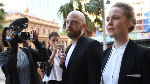 Actor Eryn Jean Norvill (right) arrives at the Federal Court in Sydney, Wednesday, October, 31, 2018.