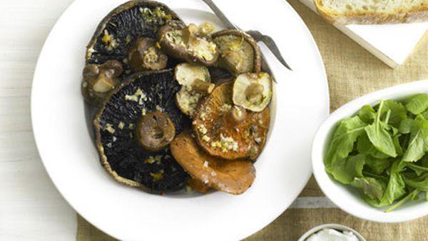 Roast mushrooms with goat's curd