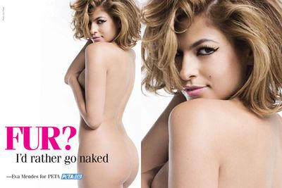 "Eva posed for this sexy ad in 2007, saying she'd never eat or skin her dog for his fur, ""so why would I be okay with eating a cow or wearing a cheetah?"""