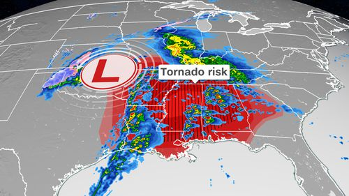 Powerful tornadoes, large hail and damaging winds threaten parts of the South on Wednesday as severe storms take aim at nearly 50 million people.