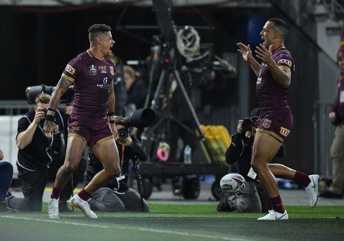 Dane Gagai and Will Chambers celebrate a try. Picture: AAP