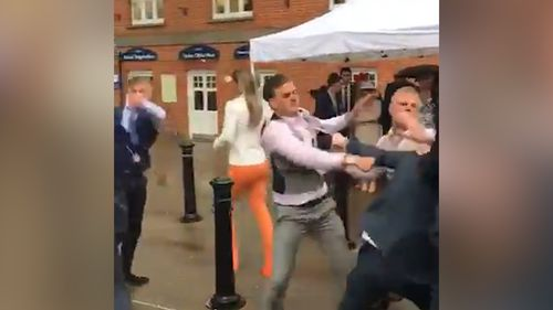 A violent mass brawl was filmed breaking out at the United Kingdom's Royal Ascot race event over the weekend. Picture: Supplied