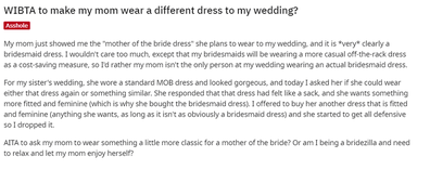 The bride has asked for advice on Reddit.