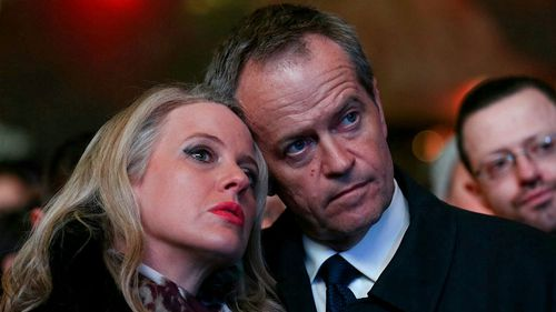 Opposition leader Bill Shorten and his wife, Chloe. (AAP)