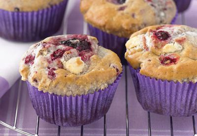 White chocolate and berry muffins