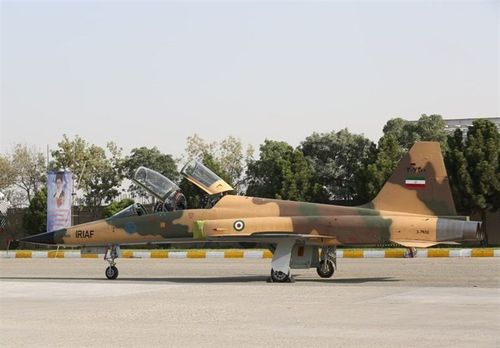 The Kowsar fighter jet on the tarmac.