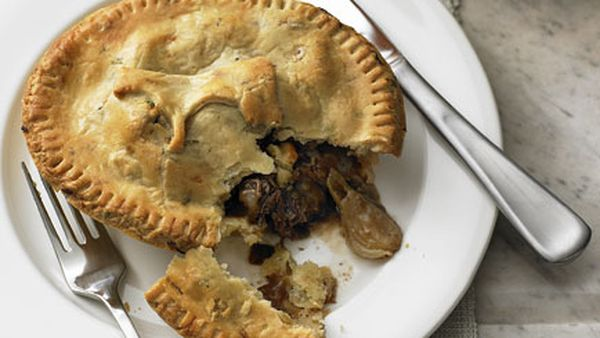 Beef cheek, onion and stout pies with thyme and onion pastry