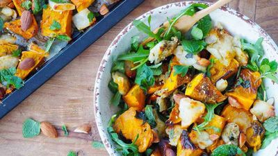 """Recipe:<a href=""""http://kitchen.nine.com.au/2017/08/15/13/22/baked-haloumi-and-pumpkin-with-honey-and-zaatar"""" target=""""_top"""">Baked haloumi and pumpkin with honey and za'atar</a>"""