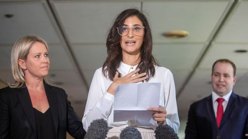 Lamisse Hamouda, daughter of Hazem Hamouda is seen speaking to media alongside her family's lawyer Jennifer Robinson(right) and MP for Stretton Duncan Pegg(right) at Queensland Parliament House in Brisbane