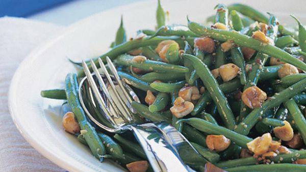 green bean and hazelnut