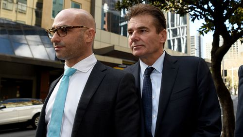 Timothy Steel (right) is seen leaving Downing Centre District Court during a break in Sydney on June 30, 2020 (Bianca De Marchi).